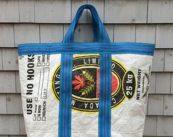Upcycled Grain Bag Tote | Giant Size | Laundry Bag | Storage Bag | Toy Bag | Beach Bag | Eco Friendly Gift | Handmade in Maine | USA
