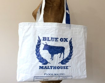 Upcycled Grain Bag Tote | Made in Maine | Eco-Friendly | Recycled | Tote Bag | Handmade | Shopping Bag | Beer Maker Gift | Beer Lover Gift
