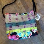 RESERVED for Mita Recycled Burlap and Fabric Bucket Bag, OOAK, Handmade in Maine