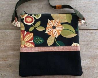 Retro Print Fabric and Denim Crossbody Purse, iPad Bag, Handmade in Maine, USA