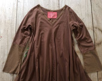 Hand-Stitched Swing Tunic, Women's size LARGE (10-12), 100% Cotton, Upcycled, Handmade in Maine, USA