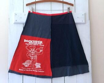 Upcycled Skirt | Size LARGE (10/12) | T-Shirt Skirt | 100% Cotton | Eco Refashion | Sustainable Clothing | Handmade in Maine | USA