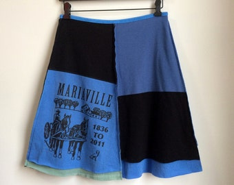 Upcycled T-Skirt | Size MEDIUM (6/8) | Cotton Jersey T-shirt Skirt | A-Line | 100% Cotton | Sustainable Clothing | Handmade in Maine | USA