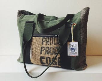 Repurposed Army Canvas and Burlap Tote, Handmade in Maine, USA