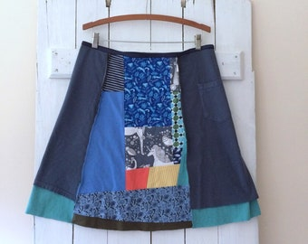 Handmade Skirt | Size XXLARGE (16/18) | Cotton Jersey Skirt | T-Shirt Skirt | 100% Cotton | Upcycled | Refashion | Handmade in Maine | USA