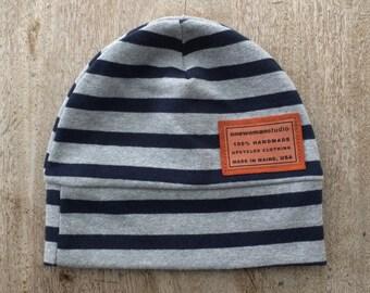 Cotton Jersey Beanie | Unisex | Medium | Maine Made | Cotton Knit Hat | Skull Cap | Refashion | Upcycled | Hipster Fashion | Eco Gift | USA
