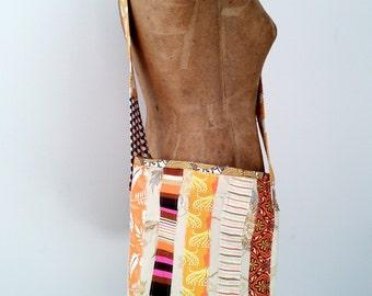Cotton and Linen Bucket Bag | Crossbody Bag | Hippy | Boho | Eco Friendly | Warm Tones | OOAK | Fabric Tote Bag | Handmade in Maine | USA