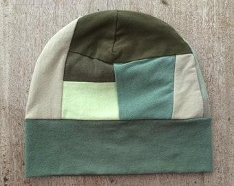 Cotton Jersey Beanie | Medium | Maine Made | Cotton Knit Beanie | Skull Cap | Refashion | Upcycled | Hipster Fashion | Unisex Hat | Eco Gift