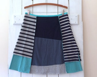 Upcycled Skirt | Size XLRG (14/16) | T-Shirt Skirt | Cotton Jersey Skirt | 100% Cotton | Eco Sustainable Clothing | Handmade in Maine | USA