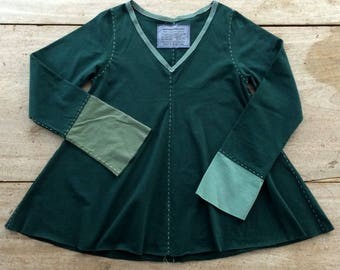 Hand-Stitched Swing Top, Women's size SMALL (6-8), 100% Cotton, Upcycled, Handmade in Maine, USA