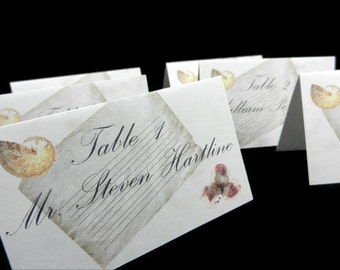 Shabby Chic Beach Wedding - Tented Place Cards - 24