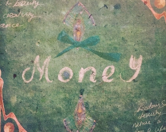 MONEY - Papers of Intention - handmade paper art full of intentions - to be burned or buried with attached prayer