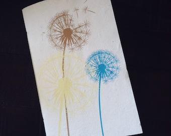 Dandelions - 40 page Tree Free Handmade Paper Journal, Sketchbook, blank book - unlined