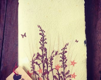 Wild Grass - 40 page tree free handmade paper journal - sketchbook - blank book - unlined