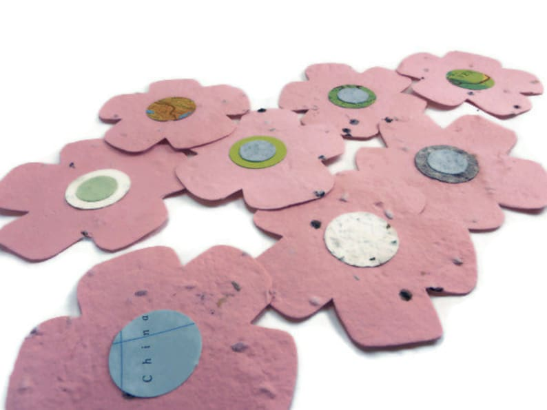 3 inch Handmade Paper Wildflower Seeded Paper Flower Favors 20 count