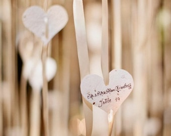 Wildflower Seeded Paper Heart Favors - 50 count - 3 inch - Free Personalization