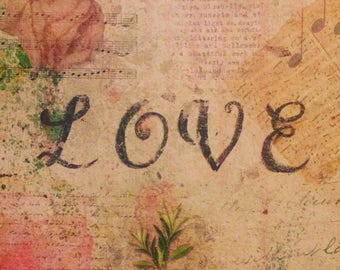 LOVE - Papers of Intention - handmade paper art full of intentions - to be burned or buried with attached prayer