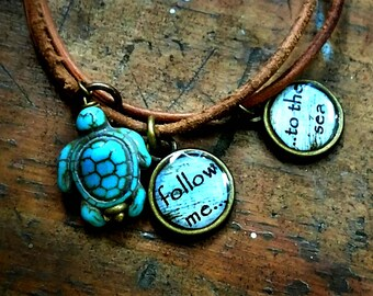Turtle Charm Bracelet, Follow Me to the Sea, Quote Charms, Ocean Charms, Turtle Jewelry, Gifts, Turtle Bracelet, Ocean Jewelry, Beach Charms