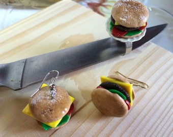 Yummy Junk Food Cheeseburger Earrings