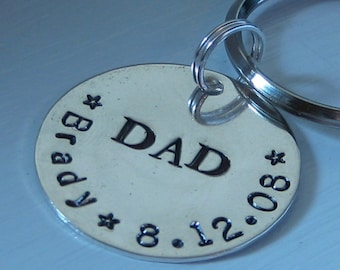 Custom Hand Stamped Sterling Silver Keychain