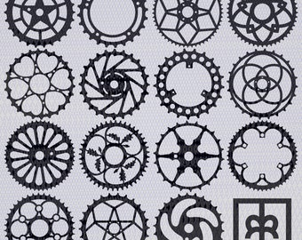 Vintage bicycle chainring vector illustrations