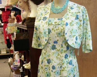 40s 50s Dress & Jacket . Vintage Floral Print Sundress with Bolero Jacket . Medium Large