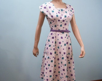 Vintage 1950s Fit & Flare Dress . Novelty Print Dress . Teal and Purple Boxes With Trees Leaves Stars