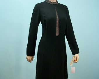 Deadstock 60s Designer Dress . Vintage Ric McClintock Rhinestone Trimmed LBD . New With Tags . M