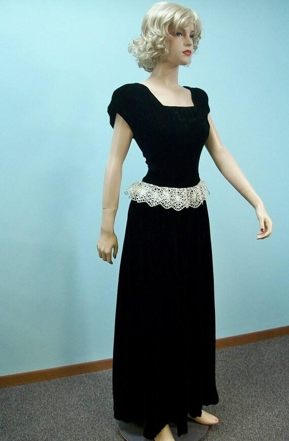 1940s Velvet Gown . Vintage Lace Peplum Long Dress