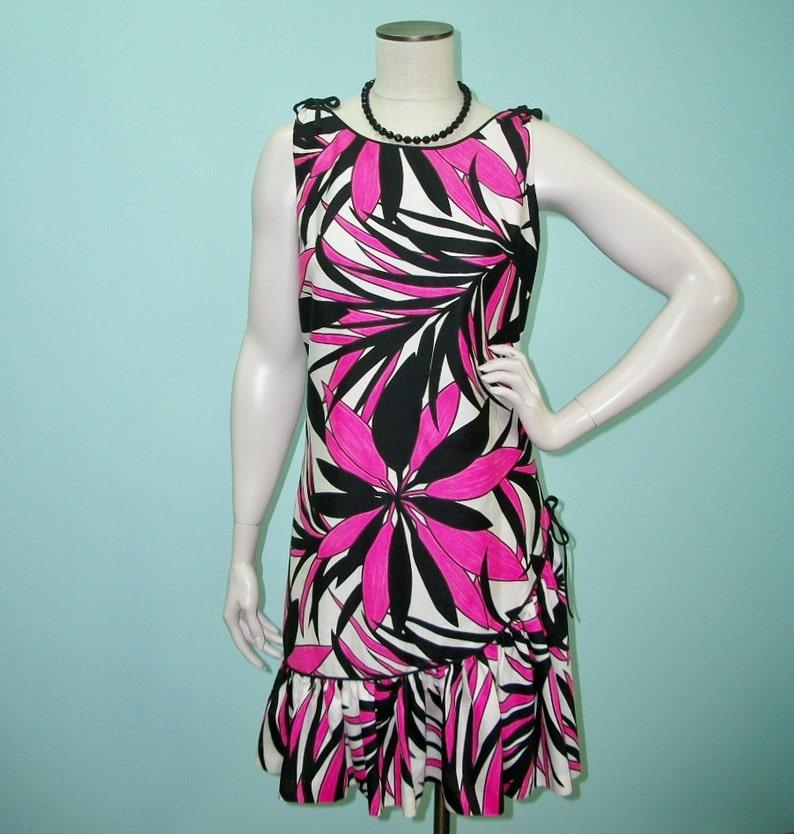 Vintage 60s Dress . Bold Floral Print Ruffle Bottom Sun Dress image 0