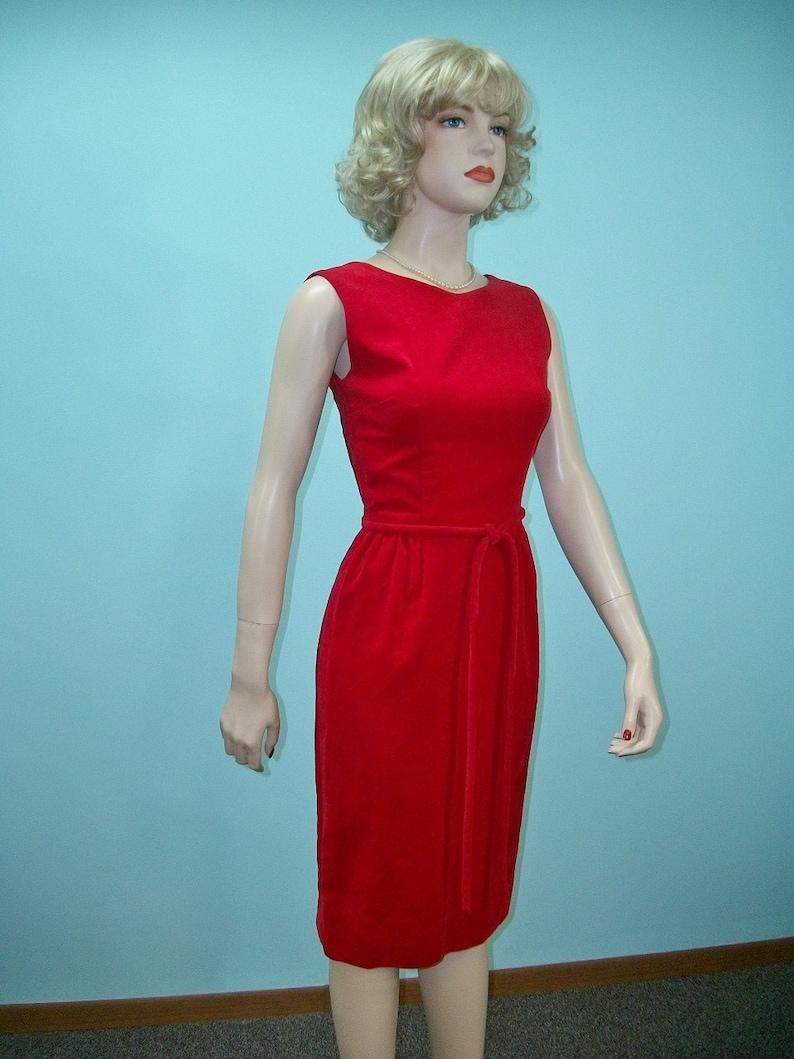 1960s Sheath Dress . Red Velveteen Dress . Bow Trimmed Open image 0