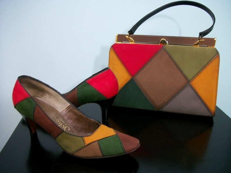 60s Harlequin Shoes & Handbag . Multi-Color Suede Pumps and image 0