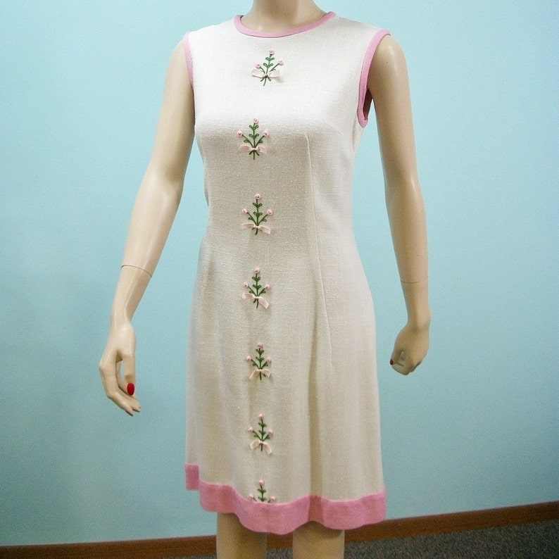 Vintage 60s Shift Dress . Pink Ribbon Roses & Embroidery On image 0