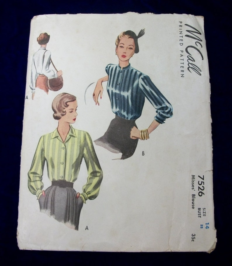 Vintage 1940s McCall Sewing Pattern . 7526 . Uncut Blouse 3 image 0