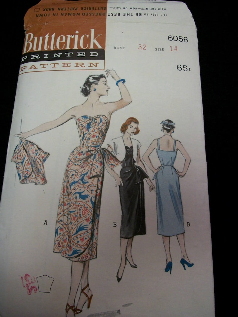 Vintage 1950's Butterick 6056 Dress and Bolero Jacket image 0