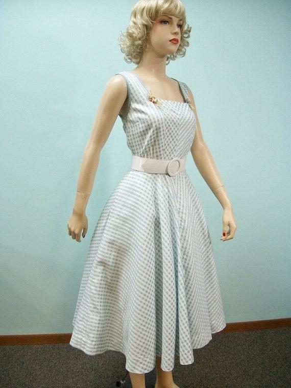 1950s 1960s Sun Dress . Vintage Blue Checked Dress