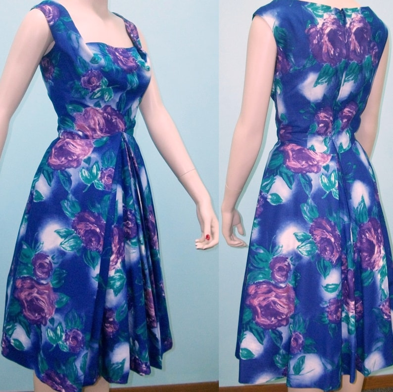 1950s Dress . Purple Floral Print Sundress . Harvey Berin image 0