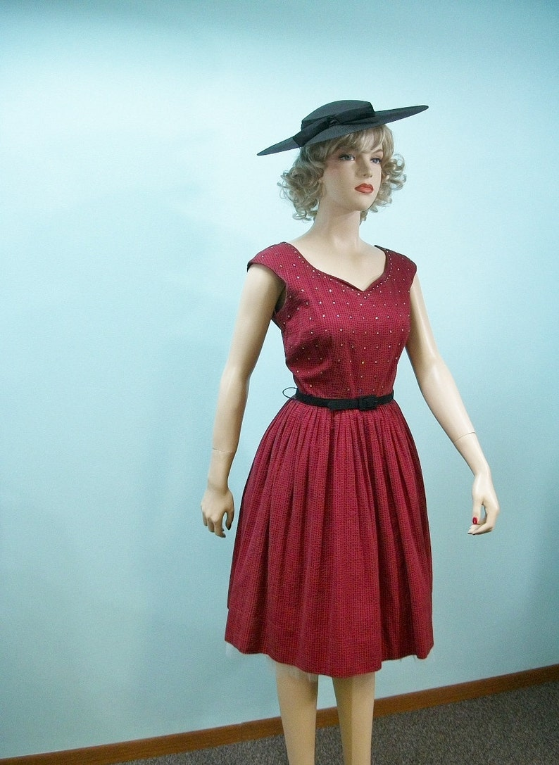 50s 60s Dress . Vintage Red & Black Checked Rhinestone Bodice image 0