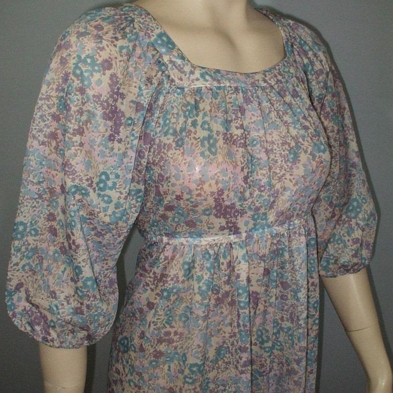 Vintage 1970s Dress . Semi-Sheer Floral Print . Boho Hippie . image 0