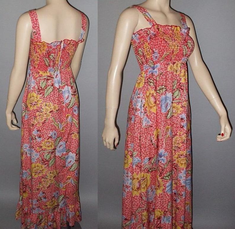 Vintage 70s Maxi Dress Smocked Bodice Floral Print Sundress S image 0