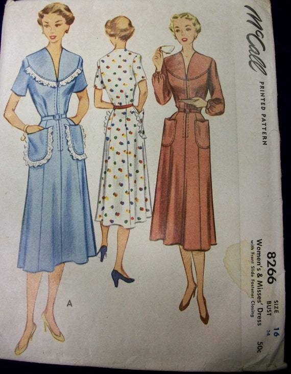 Vintage Mccall 1950 Sewing Pattern 8266 Uncut Dress Etsy