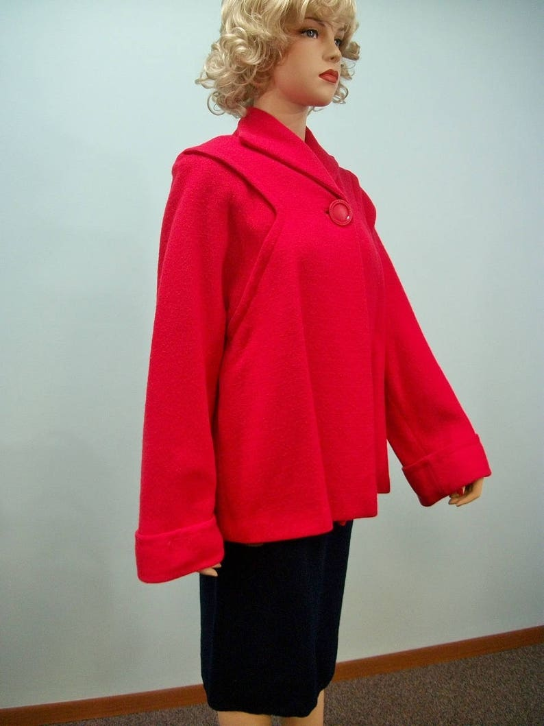 1950s Swing Jacket . Vintage Red Wool Topper . Huge Button . image 0