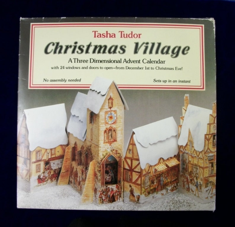 Sale TASHA TUDOR Advent Calendar 3-D Christmas Village Rare image 0