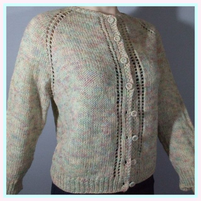 50s Cardigan Sweater . Hand Knit . Variegated Yarn / S M L image 0