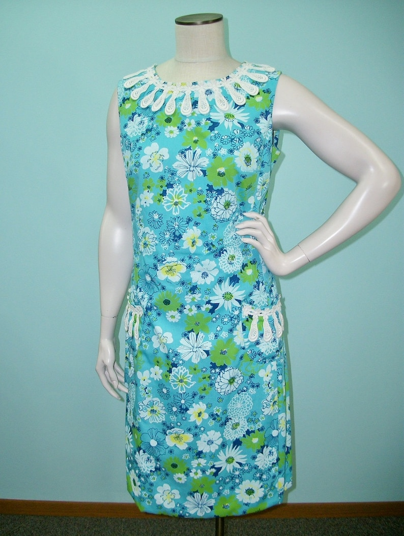 Vintage 60s The Lilly Dress . Lilly Pulitzer Blue Green Floral image 0