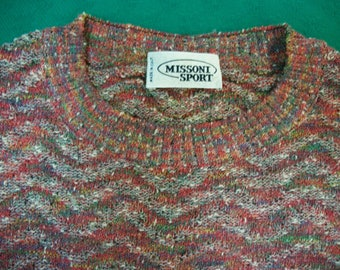 Missoni Vintage Sweater . Flame Stitch Ribbed Waist . Made in Italy . Missoni Sport 1980s