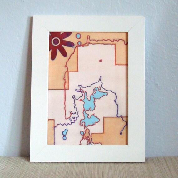 Abstract Art Face Map Flower Orange Blue Red With Block Print 5 X 7 Digital Art Print