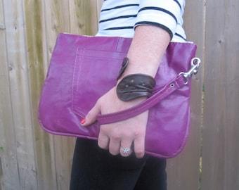 Day clutch wristlet in fiery Magenta