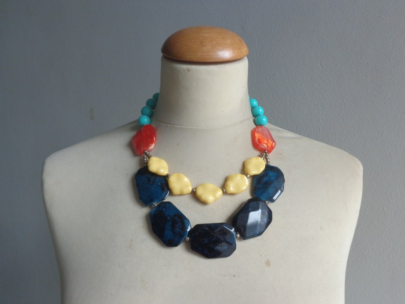 Chunky Resin Statement Bib Necklace and Earrings Set  Red,Blue,Grey  Choice of Colors