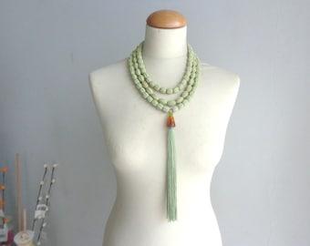 Green tassel necklace multistrand, longer style